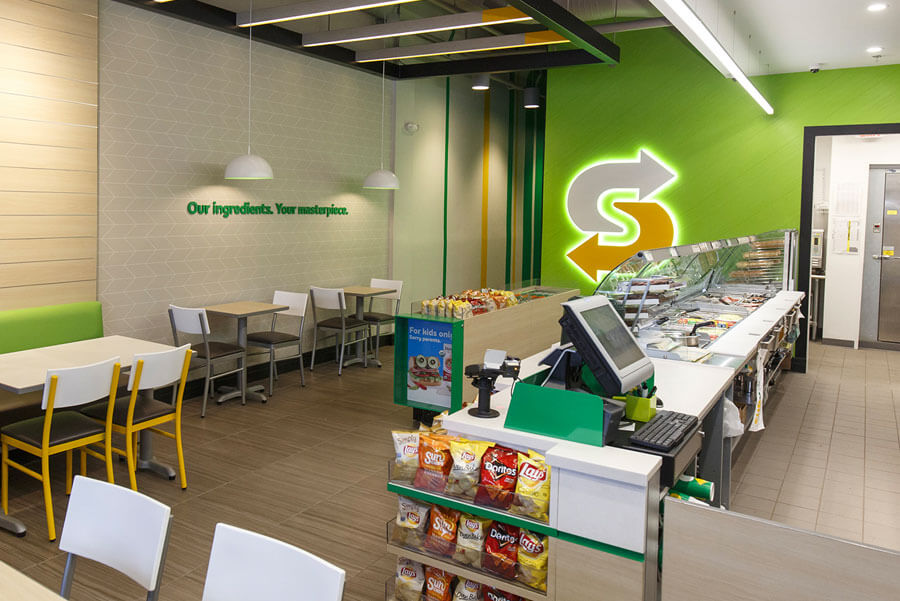 Subway restaurant inside